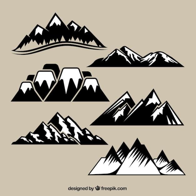 Variety of mountain range Free Vector