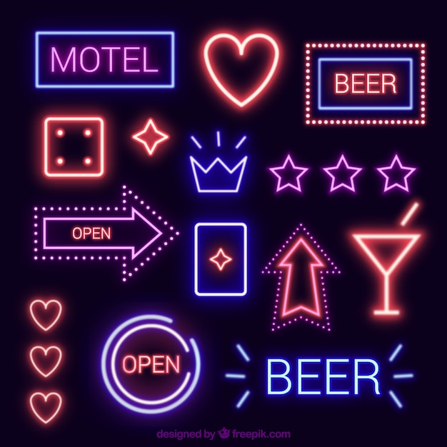 Variety of neon light signs Free Vector
