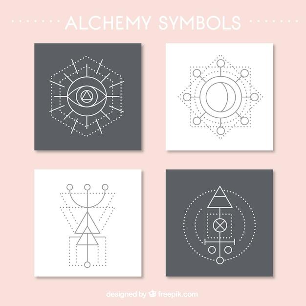 抽象的な錬金術シンボルカードの様々な 無料ベクター