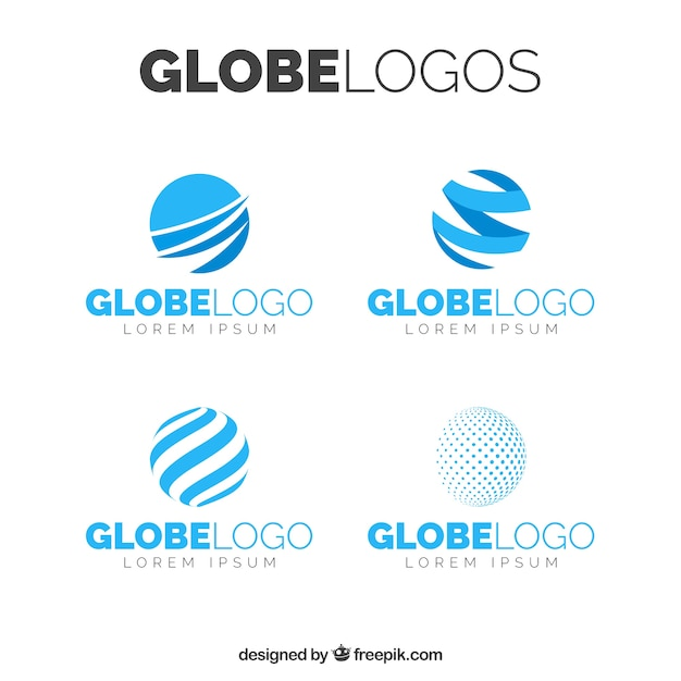 Variety of abstract globe logos in blue tones Free Vector