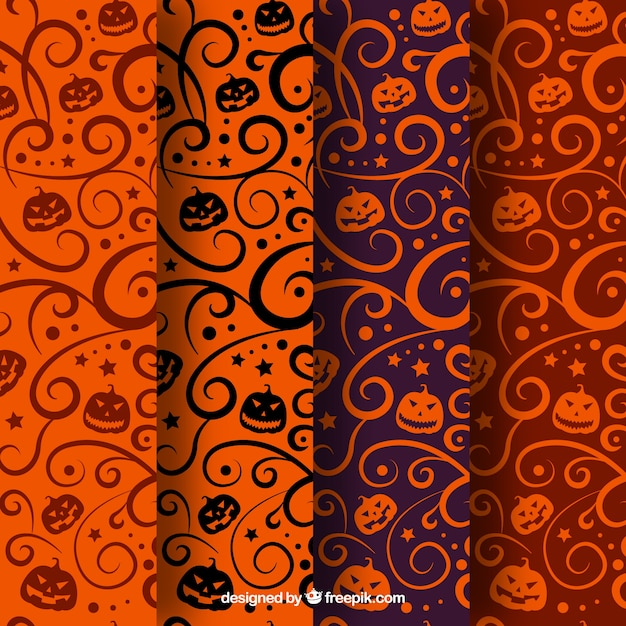 variety of abstract halloween patterns free vector