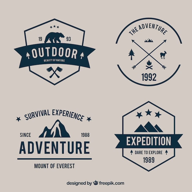 Variety of adventure badges pack Free Vector