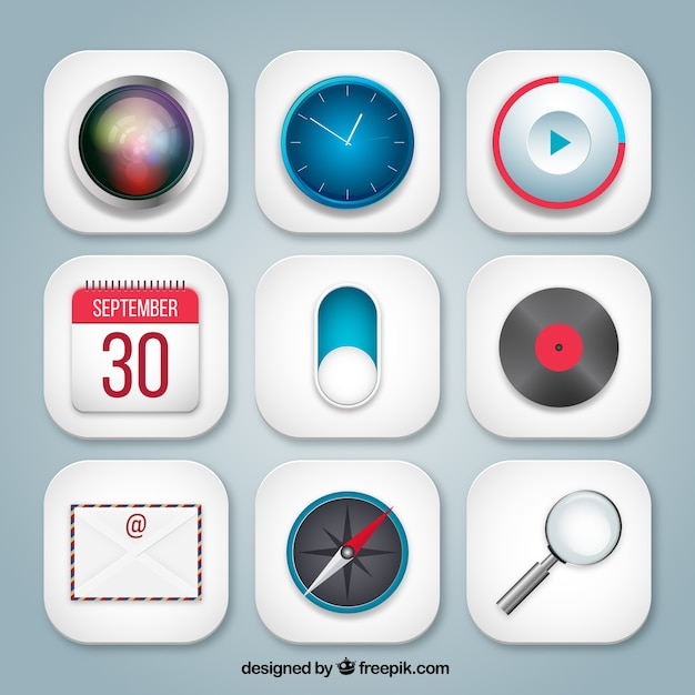 Variety of app icons Free Vector