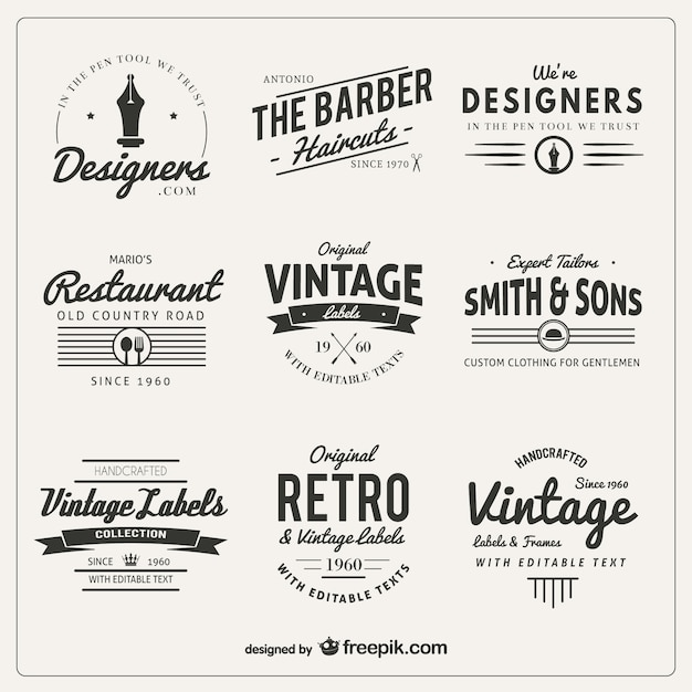 Variety of badges in retro style Free Vector