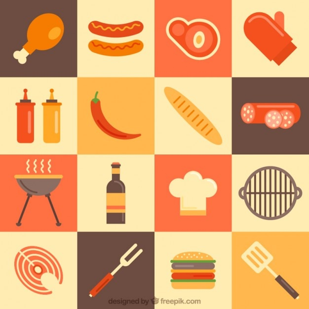 Elements Of Design Variety : Variety of bbq elements in flat design vector free download