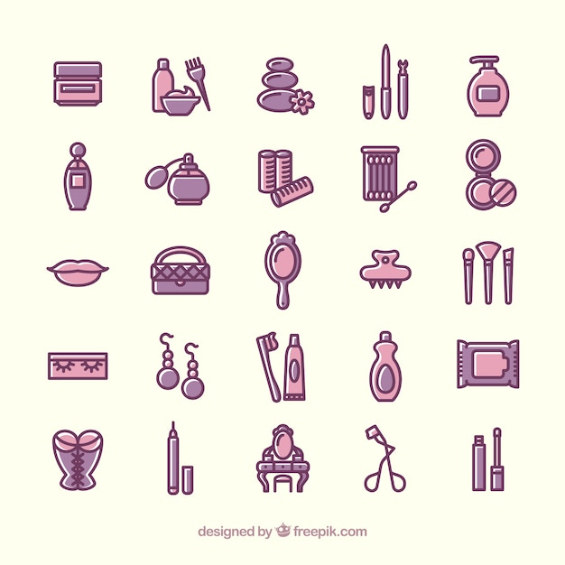 Variety of beauty icons Vector : Free Download