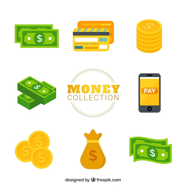 Variety of bills with coins and other elements Free Vector