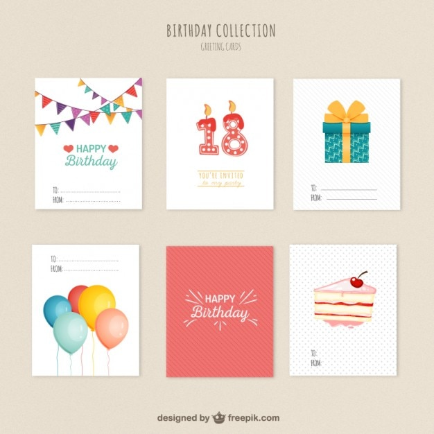 Birthday Cards Vector ~ Variety of birthday cards vector free download