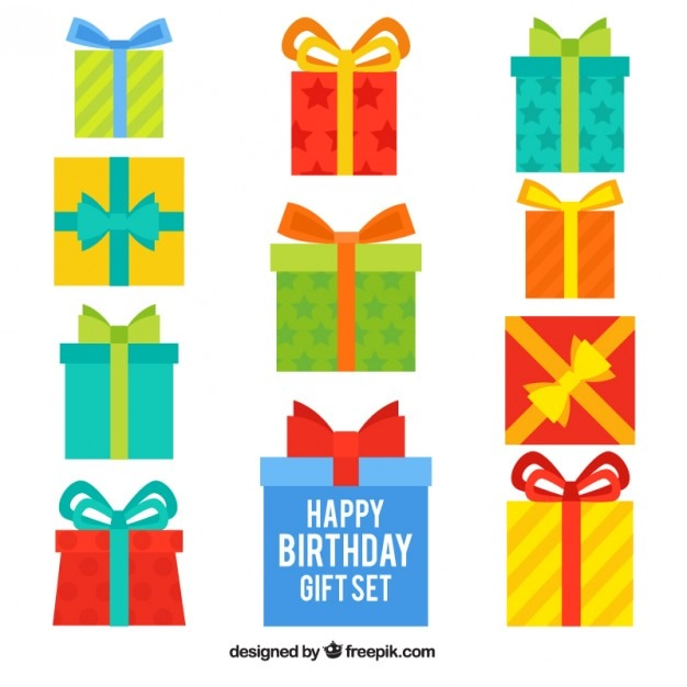 variety of birthday gifts vector free download