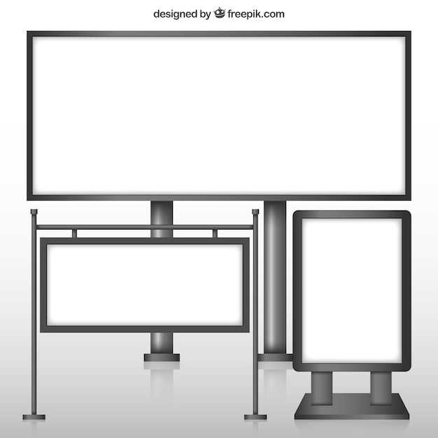Variety of blank billboards Free Vector