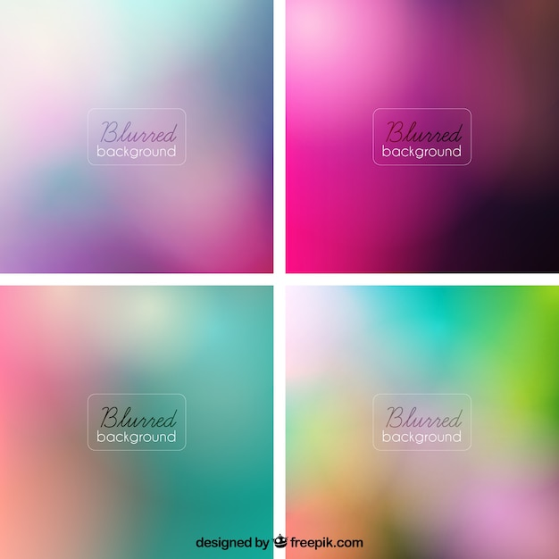 Variety of blurred backgrounds Free Vector