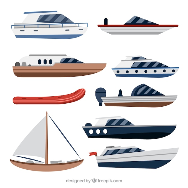 Variety of boats in flat design