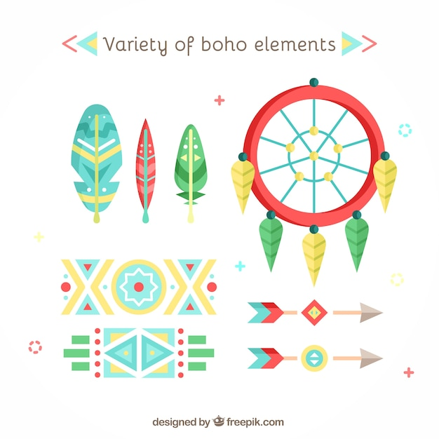 Elements Of Design Variety : Variety of boho elements in flat design vector free download