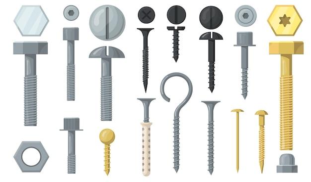 다양한 볼트 및 나사 플랫 세트 무료 벡터