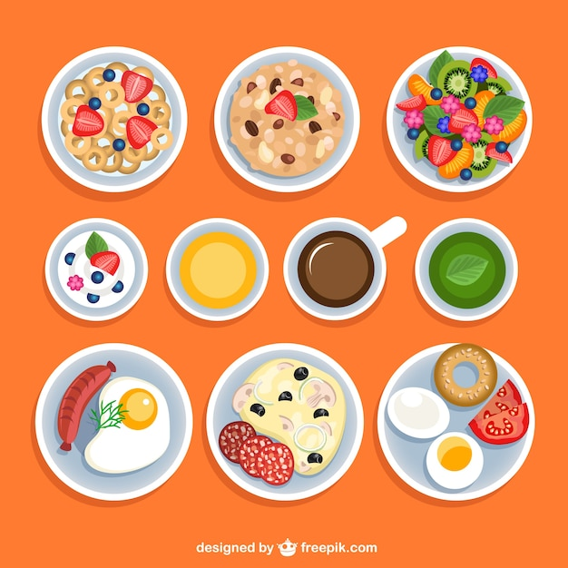 Variety of breakfasts Free Vector