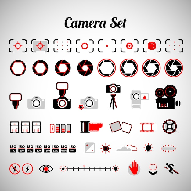 Variety of camera equipment Free Vector