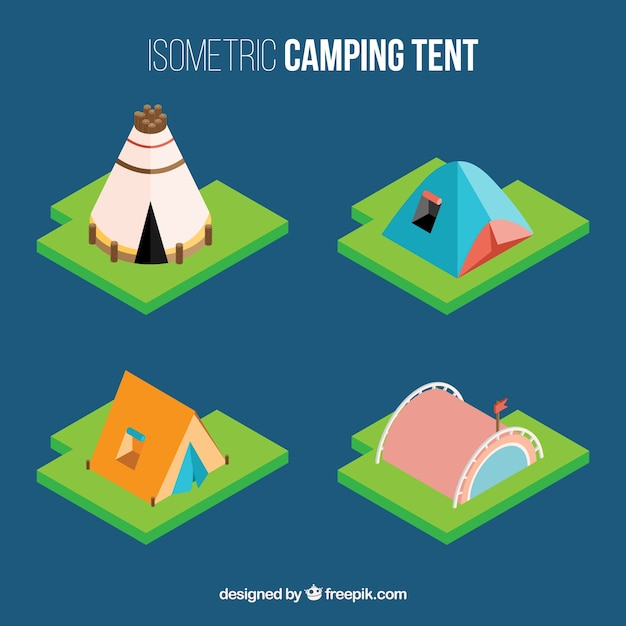 Variety of camping tent in 3D effect