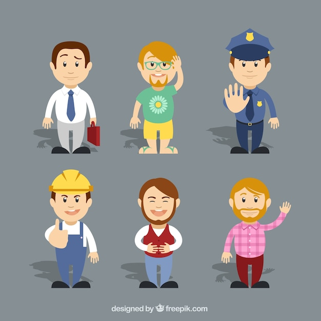 Variety of cartoon characters Free Vector