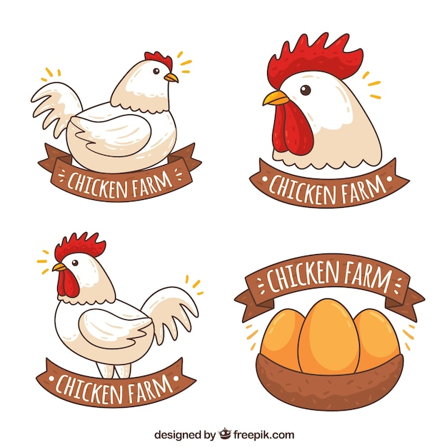 Variety of chicken logos in hand-drawn style