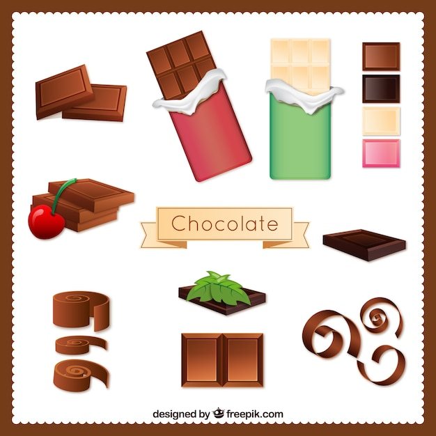 Variety of chocolate Free Vector