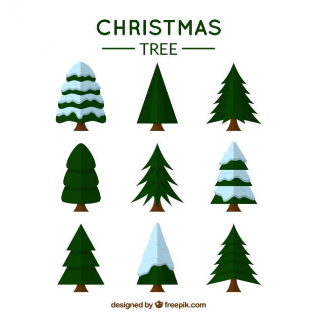 variety of christmas trees vector free download