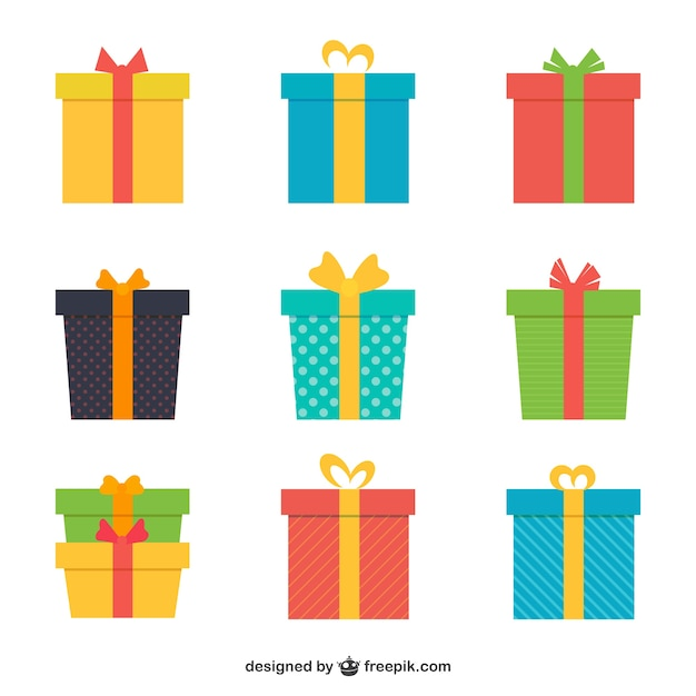 Gift vectors photos and psd files free download variety of colored gifts negle Image collections