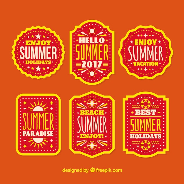 Variety of colored summer stickers