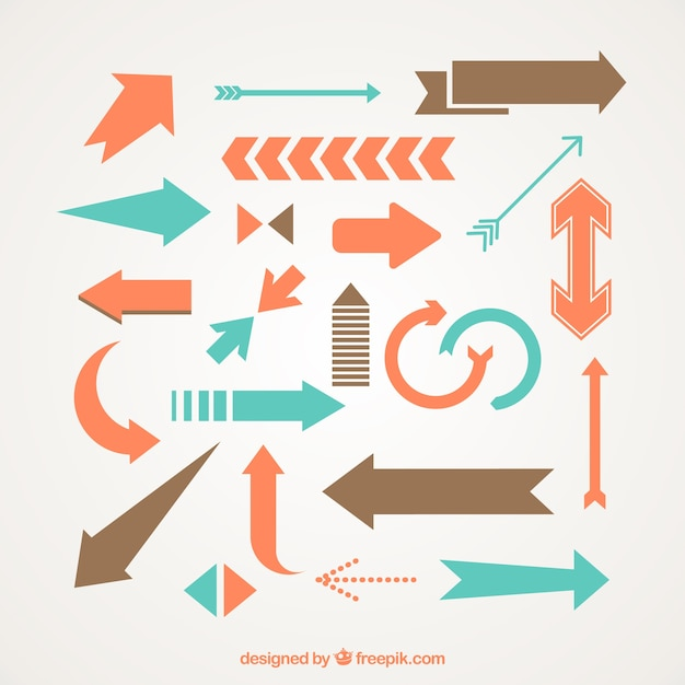 Variety Of Colorful Arrows Free Vector