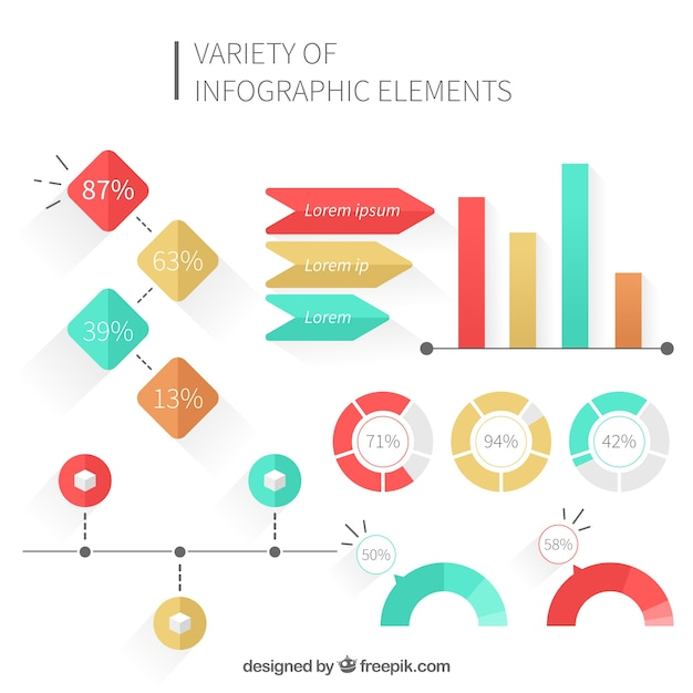 Elements Of Design Variety : Variety of colorful elements in flat design for