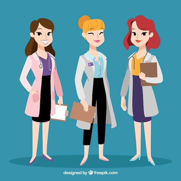 Variety of cool female doctors Free Vector
