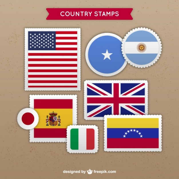 Variety of country stamps