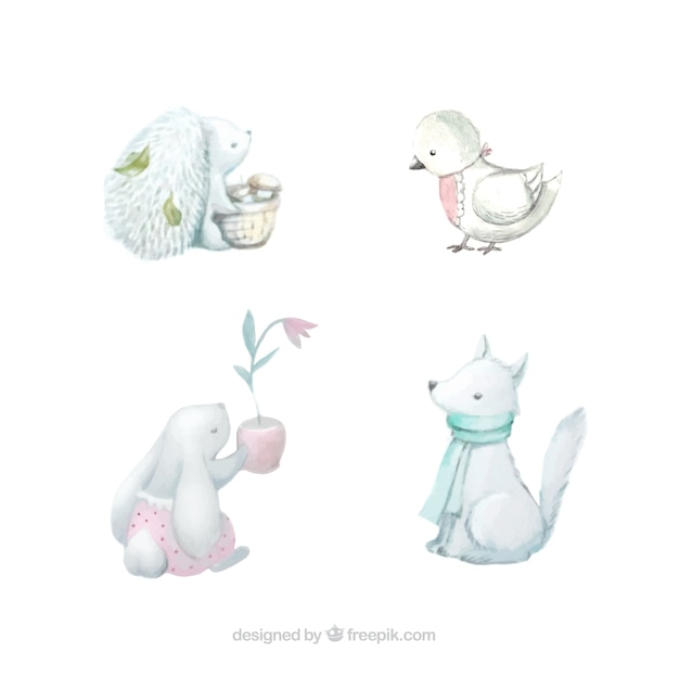Variety of cute animals in watercolor\ style