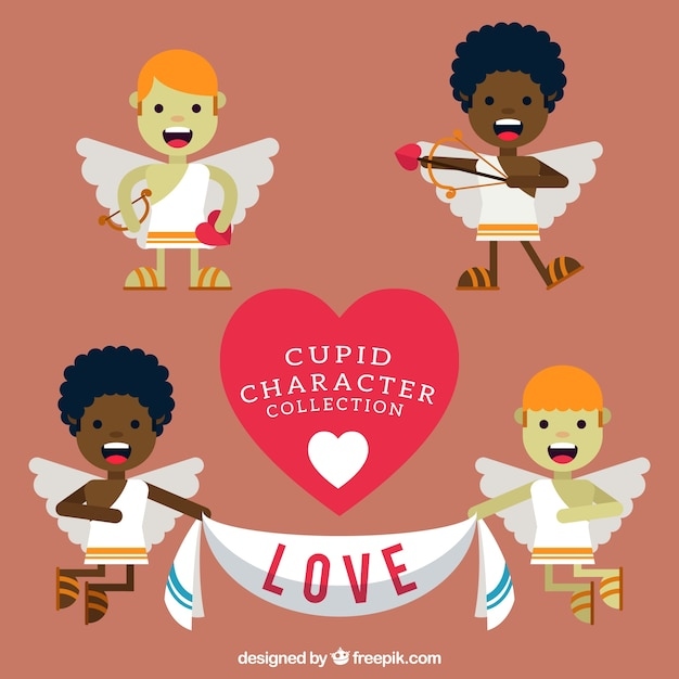Variety of cute cupid characters in flat design Free Vector
