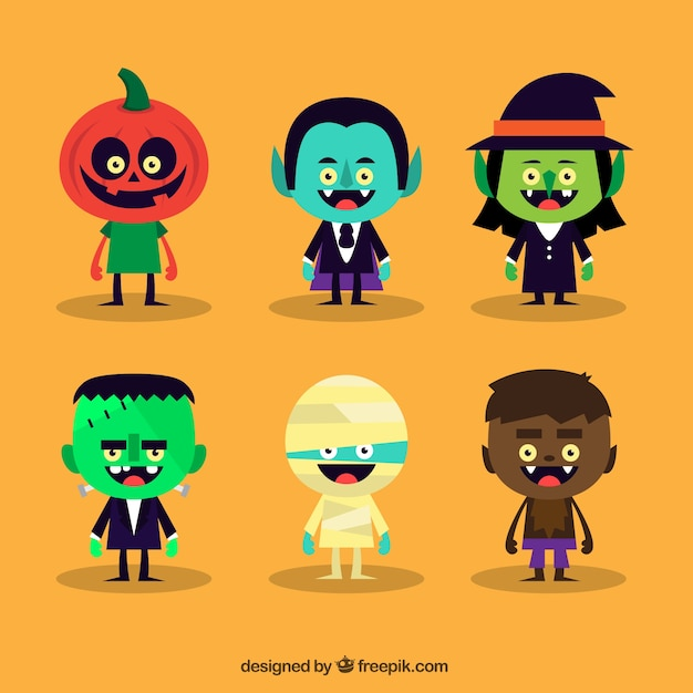 Variety of cute halloween characters Vector | Free Download