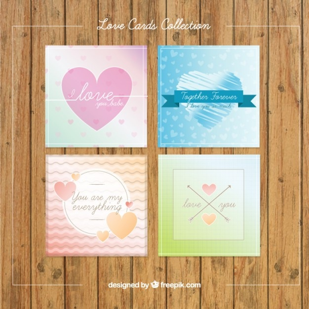 Variety of cute love cards