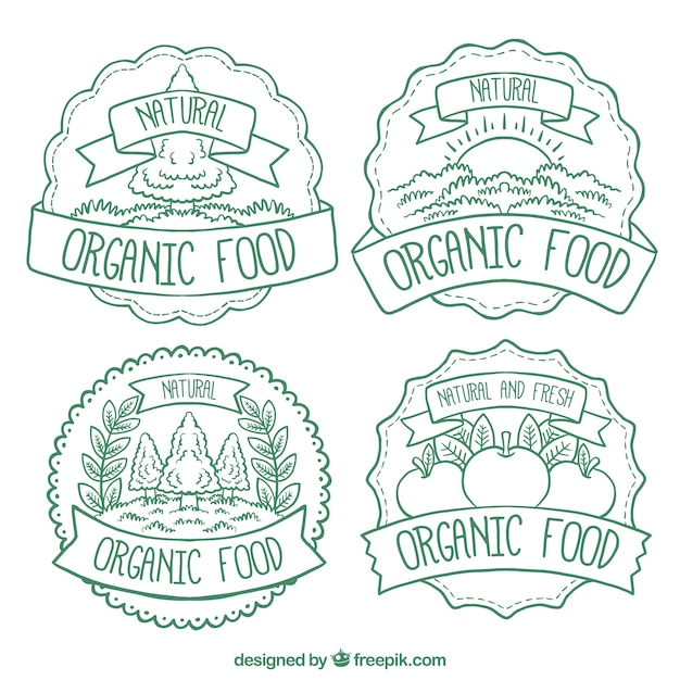 Variety of decorative organic food\ labels