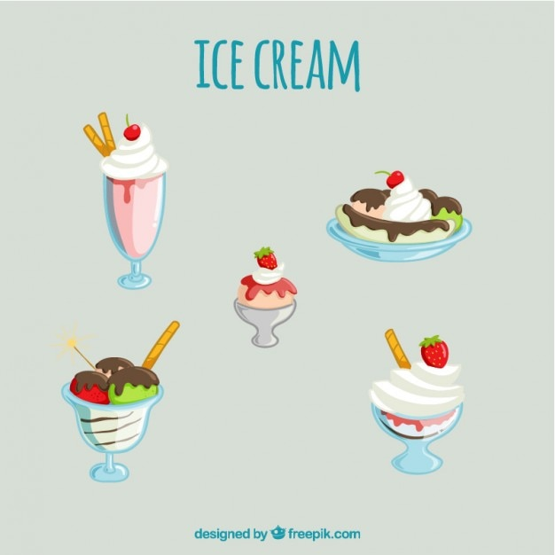 Variety of delicious ice-cream desserts\ set