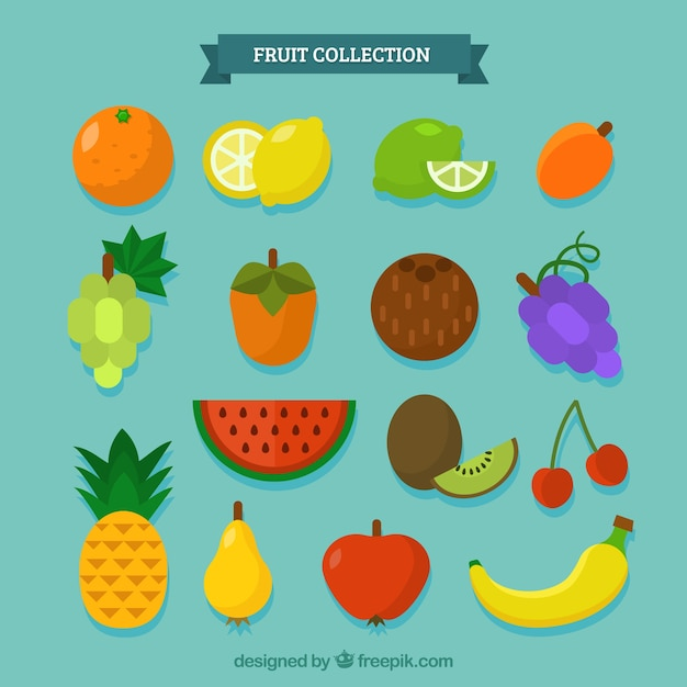 Variety of delicious pieces of fruit Free Vector