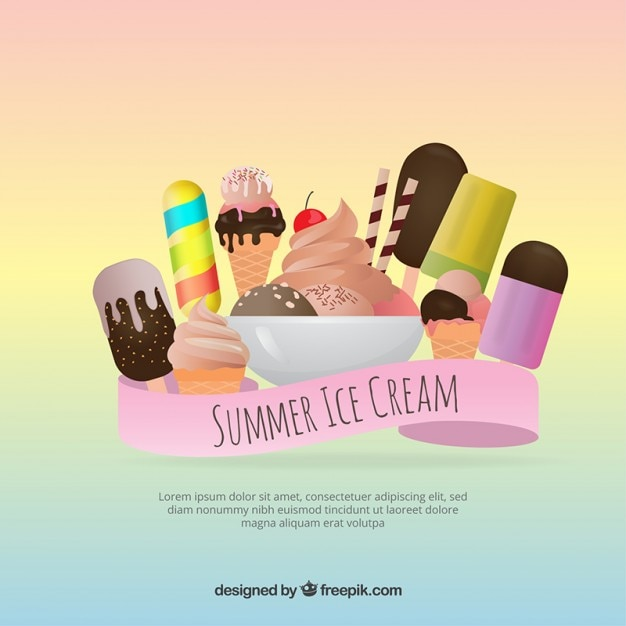 Variety of desserts and delicious ice-creams\ background