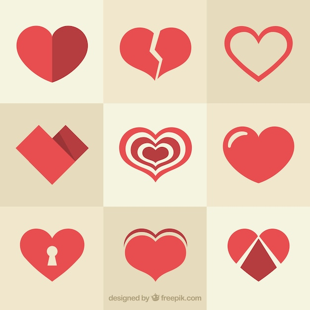 Variety of different hearts Free Vector