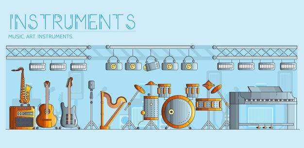 Разнообразие различных музыкальных инструментов и игрового оборудования. Premium векторы