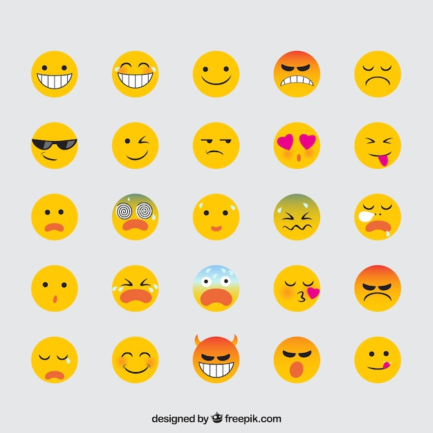 Variety of expressive emojis in flat design Free Vector