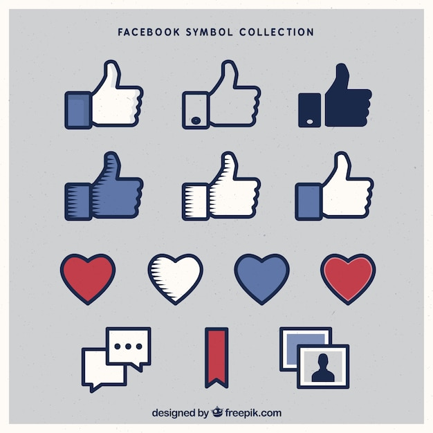 variety of facebook icons vector free download