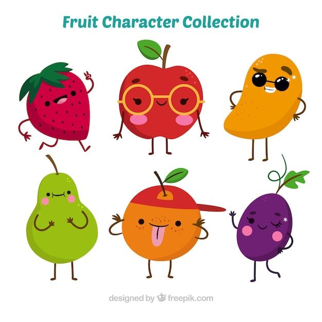 다양한 환상적인 과일 캐릭터 무료 벡터