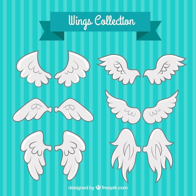 다양한 환상적인 하얀 날개 무료 벡터