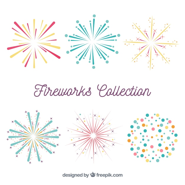 Variety of fireworks Free Vector