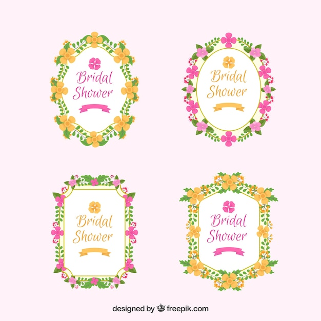 variety of flat floral bridal shower frames free vector