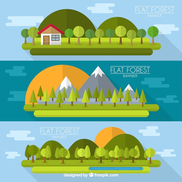 variety of flat forest banners vector premium download