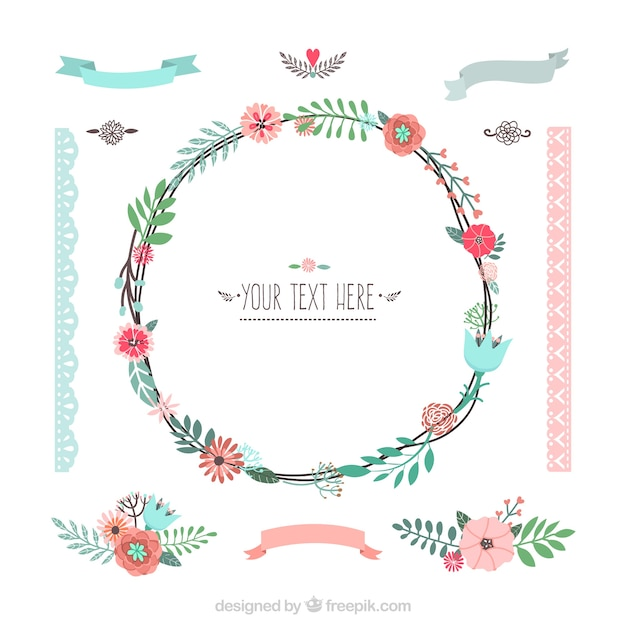 Variety of floral decoration Free Vector