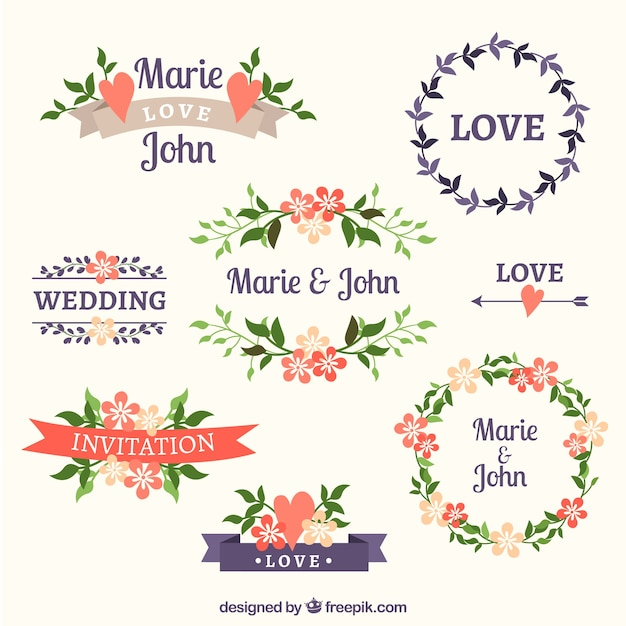 Variety of floral wedding frames Free Vector